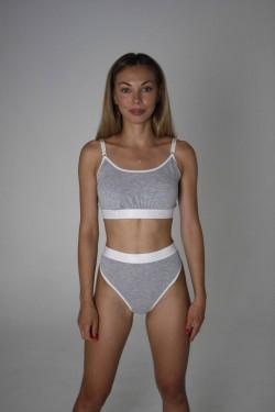 Комплект белья с высокими стрингами 300162-gray